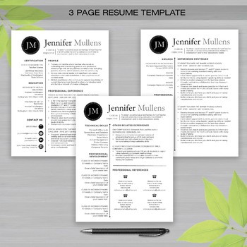 RESUME TEACHER Template For Word and Apple Pages -The Jennifer Blk Dot