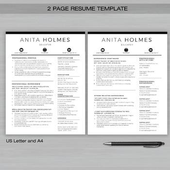 RESUME TEACHER Template For MS Word | + Educator Resume Writing Guide | MONICA