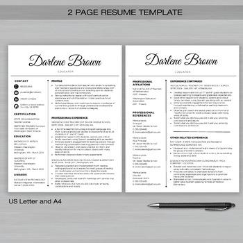 RESUME TEACHER Template For MS Word + Educator Resume Writing Guide - S-Blk