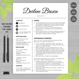 RESUME TEACHER Template For MS Word + Educator Resume Writing Guide - S-Blk