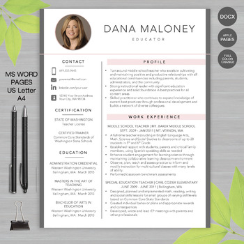 RESUME Template TEACHER With Photo For MS Word | + Educator Resume Writing  Guide  Educator Resume Template
