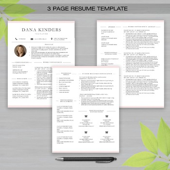 RESUME TEACHER Template with Photo For Word and Apple Pages -The Dana K