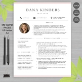 RESUME TEACHER Template with Photo For Word and Apple Page