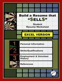 "RESUME WORKSHEET (EXCEL Version):  ""Build a Resume That S-"