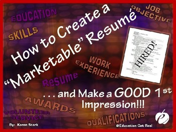 "RESUME WRITING TIPS POWERPOINT - ""Creating a GOOD 1st Impression"""