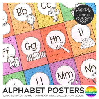 RETRO RAINBOW Alphabet Posters