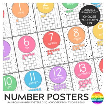 RETRO RAINBOW Number Posters 0-30