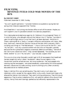 REVENGE FUELS COLD WAR MOVIES OF THE 80'S - Article & Questions