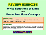 REVIEW EXERCISE - Writing Equations of Lines & Linear Func