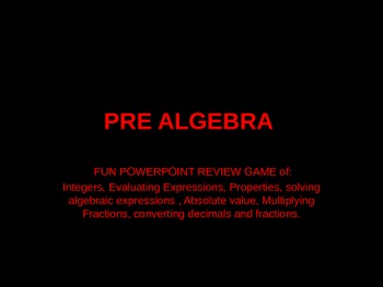 REVIEW GAME! - pre algebra