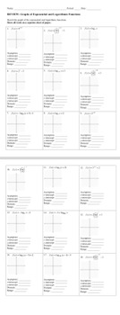 Graphs of Exponential and Logarithmic Functions Review