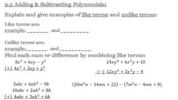 REVIEW Guide Packet: polynomials, monomials, graphing