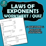 REVIEW / QUIZ - Algebra - Laws of Exponents
