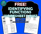 REVIEW / QUIZ - Identifying Functions - FREE!