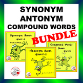 Synonym, Antonym, Compound Words  BUNDLE Task Cards $$$ Gr. 1-2 CORE Language