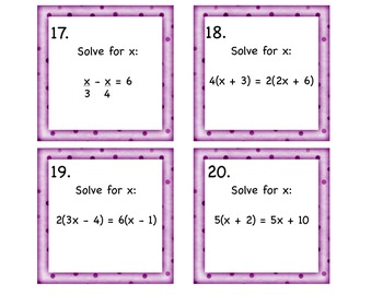 REVIEW Solving ALL TYPES of Equations Task Cards8.EE.7