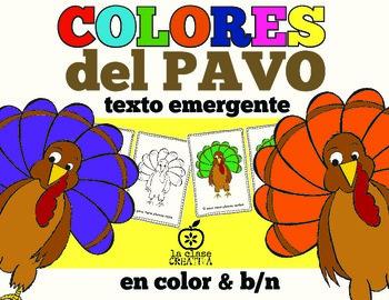 Spanish Turkey Emergent Reader: Turkey Color Words