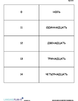 REVIEWING NUMBERS -100 (RUSSIAN)