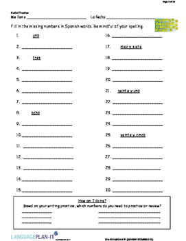 REVIEWING NUMBERS -30 (SPANISH)