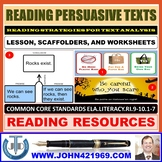 READING PERSUASIVE TEXTS LESSON AND RESOURCES
