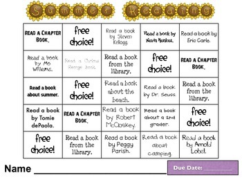 REVISED Summer Reading Challenge~FREEBIE!