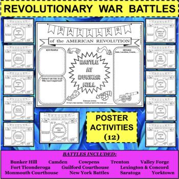 REVOLUTIONARY WAR BATTLES Poster Activities - 12 Activities in all!