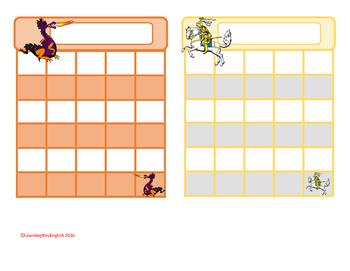 REWARD STICKER CHARTS - princesses, knight, superhero, legoman, dragon and more
