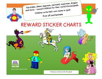 REWARD STICKER CHARTS - princesses, knight, superhero, leg