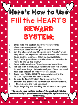 Classroom Management Tool: Fill the HEARTS