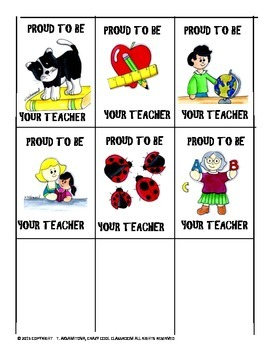 BRAG TAGS - PROUD TO BE YOUR TEACHER  REWARDS