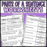 RF.1.1 Identfying parts of a sentence Worksheets