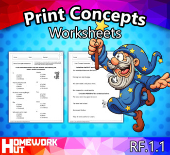 RF.1.1 - Print Concepts Worksheets