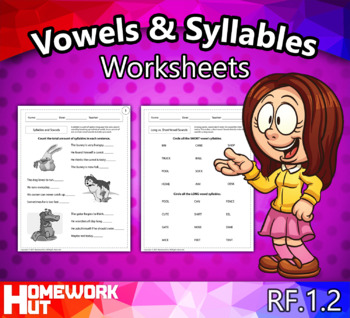 RF.1.2 - Vowels, Syllables, & Consonant Blends Worksheets