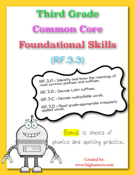 RF.3.3 Third Grade Common Core Foundational Skills: Phonics & Word Recognition