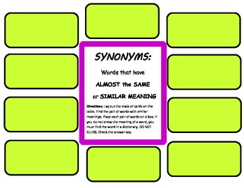 RF. 3.3 Word Work Hands-on SYNONYMS Literacy Center for Daily 5 Journeys