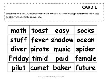 RF.3.3 Word Work Daily 5 Hands-on Identify & Sort Long and Short Vowel Sounds