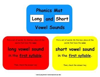RF.3.3 Word Work Daily 5 Hands-on Identify & Sort Long and