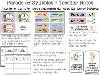 RF.K.2 and RF.1.2  Parade of Syllables {Determining Syllables in Animal Names}