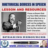 RHETORICAL DEVICES IN A SPEECH LESSON AND RESOURCES