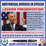 RHETORICAL DEVICES IN A SPEECH LESSON PRESENTATION