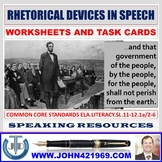 RHETORICAL DEVICES IN A SPEECH WORKSHEETS AND TASK CARDS