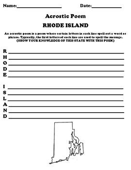 RHODE ISLAND Acrostic Poem Worksheet