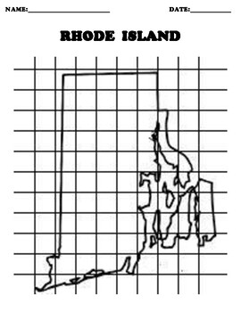 RHODE ISLAND Coordinate Grid Map Blank