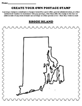 RHODE ISLAND Create your Own Postage Stamp Worksheet