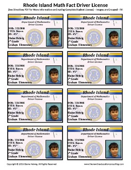 RHODE ISLAND Math Driver's License - Math Fact Incentive Progm -TEMPLATE - FREE