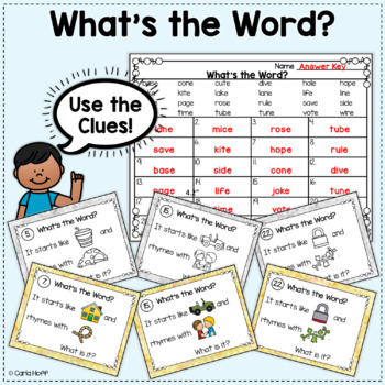 RHYME AND REBUS WORD PUZZLES  - CVCe Words