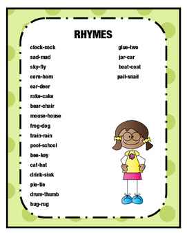 PHONOLOGICAL AWARENESS- RHYME TIME