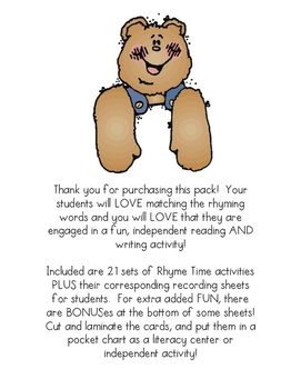 RHYME TIME - Phonics Matching Activity Pack