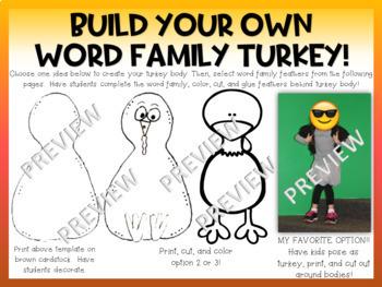 Rhyme Time Turkeys Thanksgiving Bulletin Board Centers Word Families Writing K 1