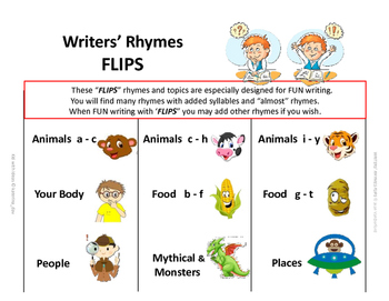 RHYMING | Interactive Workbook | Writers-Poets|WORD Lists  ♥ Reference Gr 4,5,6